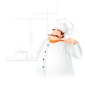 Chef cooking in kitchen vector illustration of Royalty Free Stock Photo