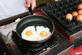 A chef is cooking sunny-side up eggs Royalty Free Stock Photo