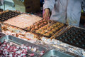 Chef cooking takoyaki ,fried octopus Royalty Free Stock Photo