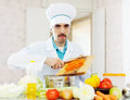 Chef cooking veggy lunch Royalty Free Stock Photo