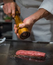 Chef cooking wagyu beef in Japanese restaurant, Tokyo Royalty Free Stock Photo