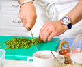 Chef cutting the parsley Stock Image