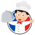 Chef de la france ou cuisinier ou logo français de cuisine d isolement sur le fond blanc Photo stock