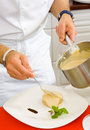 Chef decorate plate dessert Royalty Free Stock Photo