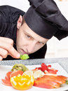 Chef decorating delicious fruit plate Royalty Free Stock Photography