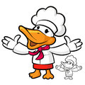 The chef duck mascot has been welcomed with both hands bird cha character design series Stock Images