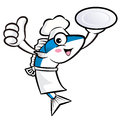 Chef fish mascot the left hand best gesture and right hand is holding a plate external blue colored scombridae character Stock Photo
