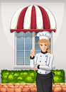 A chef in front of the restaurant illustration Stock Images