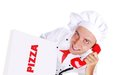 Chef getting the phone order pizza top view Stock Images