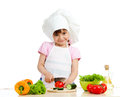 Chef girl preparing healthy food Stock Photo