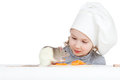 Chef girl preparing healthy food and pet rat Stock Photos