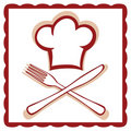 Chef hat with knife and fork sign Stock Photo