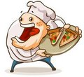 Chef have a pan of Pizza. Royalty Free Stock Image