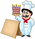 Chef holding cake with wooden table Stock Image