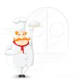 Chef holding cloche vector illustration of in kitchen Royalty Free Stock Photos