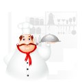 Chef holding cloche vector illustration of in kitchen Stock Images