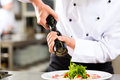 Chef in hotel or restaurant kitchen cooking only hands to be seen he is seasoning dishes Stock Photo