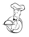 Chef illustration silhouette a of a in Royalty Free Stock Photos