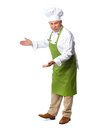 Chef inviting in restaurant isolated over white background Stock Images