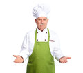 Chef inviting at restaurant isolated over white background Stock Photos