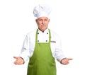 Chef inviting at restaurant. Royalty Free Stock Photo