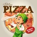 Chef and italian pizza illustration Royalty Free Stock Photos