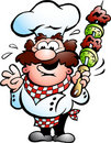 Chef with a kebab skewer Royalty Free Stock Photo