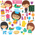 Chef kids and kitchen elements clip art set vector file it can be scaled to any sizes without losing resolution Stock Images