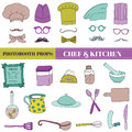 Chef and kitchen photobooth set glasses hats lips mustache elements in Stock Photo