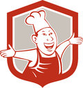 Chef koch happy arms out schild karikatur Stockfoto