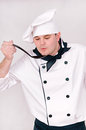 Chef with large spoon Stock Photo
