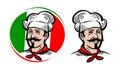 Chef, logo. Italian food, pizza, restaurant, menu label. Cartoon vector illustration Royalty Free Stock Photo