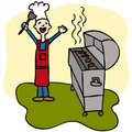 Chef Man Cooking Barbecue Grill Royalty Free Stock Photography