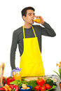 Chef man drinking orange juice Stock Images