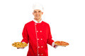 Chef man holding pizza plates with different isolated on white background Royalty Free Stock Photos