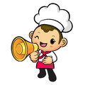 Chef Mascot the hand is holding a loudspeaker. Work and Job Char Royalty Free Stock Photo