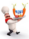 Chef with menu card Royalty Free Stock Photography