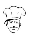 Chef with a moustache and toque head of smiling handsome young tradional black white outline vector doodle sketch Stock Photography