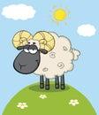 Chef noir mignon ram sheep cartoon character on une colline Images stock