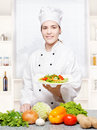 Chef offering vegetarian meal Stock Photography