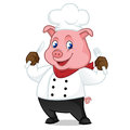 Chef pig cartoon mascot holding fork and knife Royalty Free Stock Photo