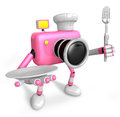 Chef pink camera character right hand plate left hand holding fork create d camera robot serie Stock Photo