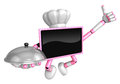 Chef pink tv mascot the right hand best gesture and the right ha is holding a pot create d television robot series Royalty Free Stock Images
