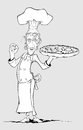 Chef with pizza in his hand. Freehand drawing Stock Photography