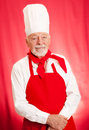 Chef Portrait on Red Stock Photo
