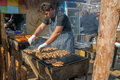 Chef prepare barbeque outdoors man baked kebabs and meatballs Royalty Free Stock Photography