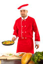 Chef prepare food male vegetables in frying pan in kitchen Royalty Free Stock Images