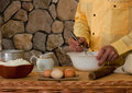 The chef prepares the dough Royalty Free Stock Photo