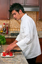 Chef preparing appetizer with watermelon feta cheese and mint Stock Images