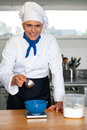 Chef preparing a dish cheerful male Royalty Free Stock Photo
